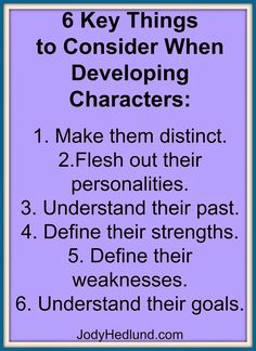 6 Key Things to Consider When Developing Characters: http://jodyhedlund.blogspot.com/2014/03/6-key-things-to-consider-when.html