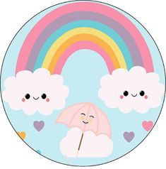 Rainbow Parties, Rainbow Theme, Kawaii Drawings, Cute Drawings, Cloud Party, Love Rain, Ideas Para Fiestas, Art Classroom, Baby Birthday