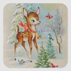 Christmas deer with Christmas cheer Vintage Christmas Images, Old Fashioned Christmas, Christmas Scenes, Christmas Deer, Christmas Cards To Make, Retro Christmas, Vintage Holiday, Christmas Pictures, Xmas Cards
