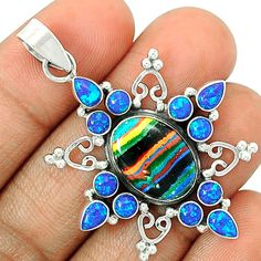 Rainbow Calsilica 925 Sterling Silver Pendant Jewelry SP194752 | eBay