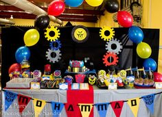 Transformers Birthday Party - Kara's Party Ideas - The Place for All Things Party I like this one a lot. I like the cupcakes, cookies, and meteorites. Birthday 40, 6th Birthday Parties, Birthday Ideas, Transformer Party, Party Decoration, Birthday Decorations, Rescue Bots Birthday, Rescue Bots Cake, Transformers Birthday Parties