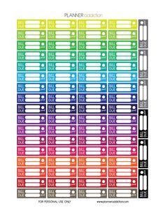 Free Printable Planner Stickers - Bill Due - Erin Condren, Happy Planner & Large Happy Planner