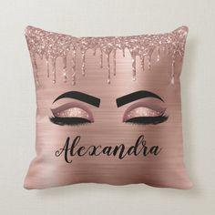 Sparkles Glitter, Rose Gold Glitter, Glitter Makeup, Pink Makeup, Custom Pillows, Decorative Throw Pillows, Monogram Pillows, Bachelorette Party Gifts
