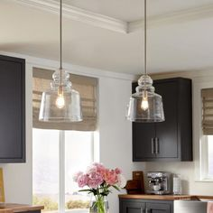 Sea Gull Lighting Agatha in. H Clear Glass Pendant with Brushed Nickel Accents and Vintage Edison Bulb - The Home Depot Sea Gull Lighting Agatha in. H Clear Glass Pendant with Brushed Nickel Accents and Vintage Edison - The Home Depot Kitchen Lighting Fixtures, Kitchen Pendant Lighting, Kitchen Pendants, Glass Kitchen, Over Kitchen Sink Lighting, Kitchen Lights Over Island, Home Depot Light Fixture, Island Pendants, Glass Pendants