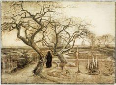 Vincent van Gogh (Pays-B. 1853-1890), The Parsonage Garden, 1884, crayon, 40,3 x 54,6 cm, Amsterdam , Van Gogh Museum