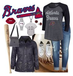 """#Baseball"" by traci927 on Polyvore featuring Melissa McCarthy Seven7, Game Time, Majestic Threads, Barbour, NOVICA and Converse"