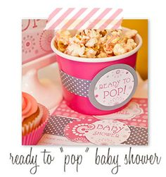 Ready to POP, Baby Shower, popcorn, pink and grey, modern