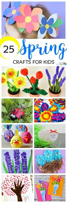25 Spring Crafts for Kids! Gorgeous collection of easy and fun spring crafts for kids!