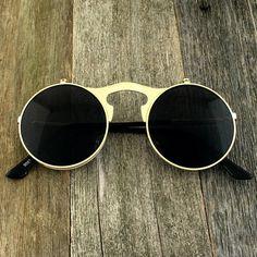 Vintage Round Gothic Steampunk Flip Up Lens Sunglasses