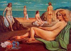 Bathers on the beach Rome Italy by Giorgio de Chirico - B: 10 July 1888 - D: 20 November 1978 Metaphysical art Italian Painters, Italian Artist, Beauty In Art, Nude Beach, Oil Painting Reproductions, Art For Art Sake, Western Art, Beach Art, Les Oeuvres