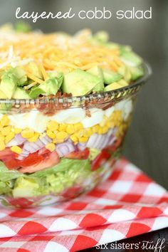 Layered Cobb Salad – Six Sisters' Stuff loose weight planner Restaurant Recipes, Dinner Recipes, Party Recipes, Cooking Recipes, Healthy Recipes, Chickpea Recipes, Healthy Habits, Healthy Meals, New Cookbooks