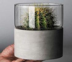 Handmade Concrete & Glass Vase