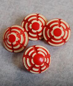 Red and White Celluloid Vintage Buttons