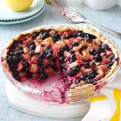 Rhu-berry Pie Recipe -I cook in a coffee shop, so I'm always looking for new and unique pies to serve my customers. The combination of blueberries and rhubarb in this recipe caught my eye and it was an instant best-seller. —Karen Dougherty, Freeport, Illinois