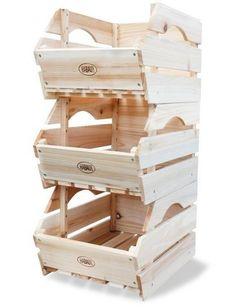 Vegetable Storage Rack Wooden Boxes Fruit Wine 3 Tier Kitchen Stackable Crates