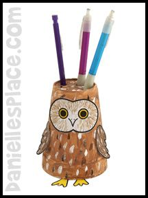 Crafts for Kids - Owl Paper Cup Pencil Holder Craft from www.daniellesplace.com