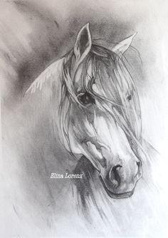 White Horse Original Drawing Room Decor Horse Art por sublimecolors