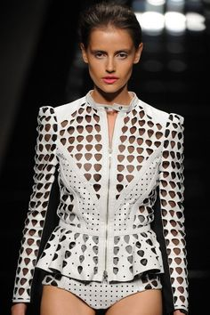 great laser-cut and perforated leathers at John Richmond during #mfw