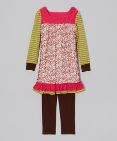 Fuchsia Floral Tunic & Brown Leggings - Girls by Rare Editions
