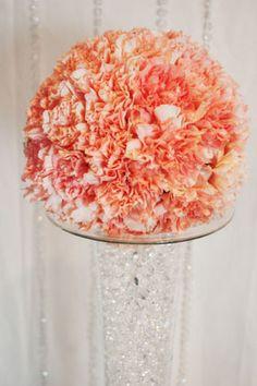peach carnation ball centerpiece