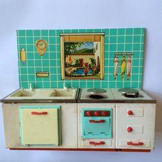 Items similar to Vintage toy kitchen tin metal pastel on Etsy Vintage Kitchen Appliances, Toy Kitchen, Vintage Dollhouse, Vintage Dolls, Play Grocery Store, Cardboard Box Crafts, Little Girl Toys, Miniature Kitchen, Tin Toys