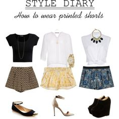 A super simple way to wear printed shorts is with a solid black or white top and cute shoes.