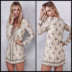FREE PEOPLE 🌙 Sicily Beaded Shift Dress NWT Elaborate beaded patterns lend romantic detail to this Free People shift dress. Thin ties lace through the deep V neckline. Long sleeves. Lined.  Fabric: Gauze. 100% viscose. Dry clean. Imported, India.  Measurements Length: 32.75in / 83cm, from shoulder Measurements from size 4 Free People Dresses Mini