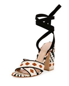 Cheyenne Embroidered Open-Toe Crisscross Sandal, Black/Beige by Gianvito Rossi.