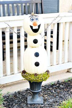 DIY Frozen Olaf Pumpkin Topiary - A Pumpkin And A Princess