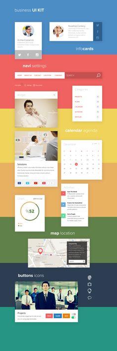 Business UI Kit - Free PSD File