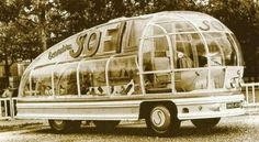 1953 See-through Bus - designed by French architect Felix Aublet for the French yarn and clothing company SOFIL...this marvel of engineering had bent acrylic and glass panels, which would light up in different colors at night - promoting the rainbow colors of famous SOFIL array of yarns - plus it would broadcast music by Radio Luxembourg and other stations!