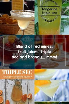 Blend of red wines, fruit juices, triple sec and brandy... mmm! Red Wines, Triple Sec, Fruit Juice, Juices, Margarita, Orange, Tableware, Dinnerware, Tablewares