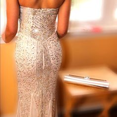 White Gown with Gold/ Silver Sequence White Gown with Gold and Silver Sequence Dresses Prom
