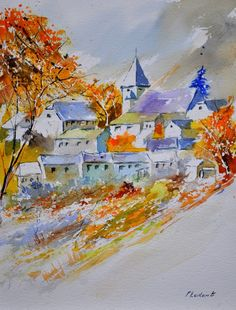 watercolor awagne in autumn