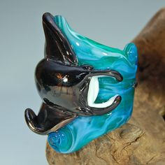 """7/8"""" Flying Manta Ray Dread Bead - Lampwork Glass Sculpture - SRA on Etsy, Sold"""