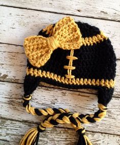 e69352371255 New Orleans Saints Inspired Little Miss Football Beanie in Black and Gold  Available in Newborn to 5 Years Size- MADE TO ORDER