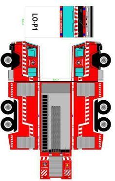 Cut-Fold and Glue-papercraft model-firetruck-template_Germany Paper Model Car, Paper Car, Paper Models, Bus Crafts, Preschool Crafts, Paper Crafts, Fireman Birthday, Fireman Party, Cardboard Toys