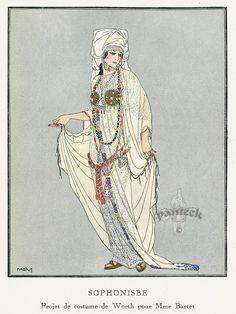 La Gazette du Bon Ton - Sophonisbe  - Projet de Costume pour Mme Bartet de Worth - 1914