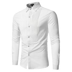 Front Pleated Casual Long Sleeve Shirt - White - 3330878117 - Men's Clothing Men's Tops & T-Shirts Men's Shirts # # Oxford Shirts, Men Dress, Shirt Dress, Pleated Shirt, Shirt Outfit, Indian Men Fashion, Camisa Formal, Trend Fashion, Fashion Site
