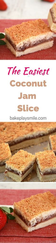 Jam Slice This was always one of my favourite slices growing up - it's such a classic recipe!This was always one of my favourite slices growing up - it's such a classic recipe! Tea Recipes, Sweet Recipes, Baking Recipes, Cake Recipes, Dessert Recipes, Recipies, Yummy Recipes, Coconut Jam, Coconut Slice