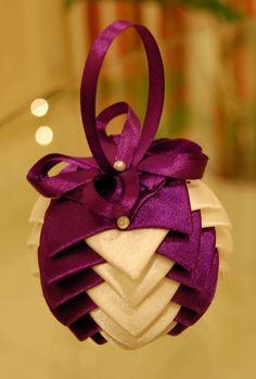 2013 Glitter Purple Christmas Ribbon Ornament Craft, Handmade Christmas Ribbon Craft, Christmas Purple Ornaments