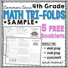 4th Grade Math TriFolds - 5 FREE Booklets - Perfect for guided math groups