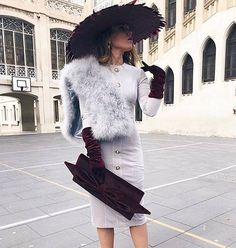 Evening outfit ideas #fashion #outfitoftheday #dress #hat Kd Outfits, Long Skirt Outfits, Outfits With Hats, Classy Outfits, Races Fashion, 90s Fashion, Tea Party Outfits, Glam Photoshoot, Races Outfit