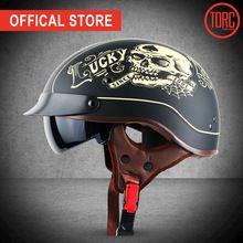 TORC motorcycle helmet vespa vintage harley summer half helmet with inner visor jet retro capacete casque moto helmet DOT T55(China)