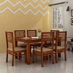 Wooden Dining Table Designs, Dinning Table Design, Chair Design Wooden, Wooden Dining Chairs, Dinning Set, Dining Decor, Indian Dining Table, Simple Dining Table, 6 Seater Dining Table