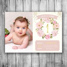 Garden Birthday Invitation First Birthday Girls Party Floral Pink