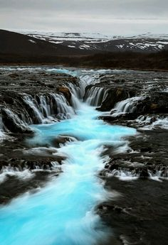 Bruarfoss in Iceland. Bruarfoss is a perfect location to get your once in a lifetime aurora photos