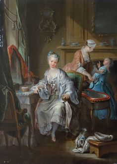 Fançois Eisen - Young woman with her toilet 1742 - oil on wood - Abbeville - Boucher-de-Perthes Museum - The young woman is about to use the bidet located behind her. The maid pours water and chases the girl. National Geographic, Luis Xiv, Art Ancien, Putting On Makeup, Exhibition, Grand Palais, Mirror Art, Expositions, Paris