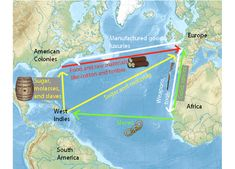 001 Triangular Trade Route Map Social studies Colonial