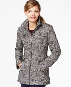 Nautica Zip-Front Tweed Peacoat - Coats - Women - Macy's